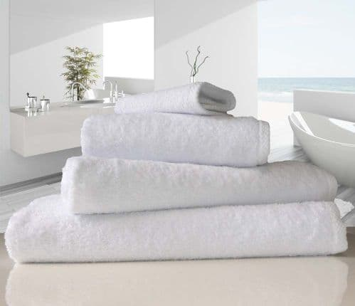 linenHall 500gsm Combed Organic Cotton Bath Towels White